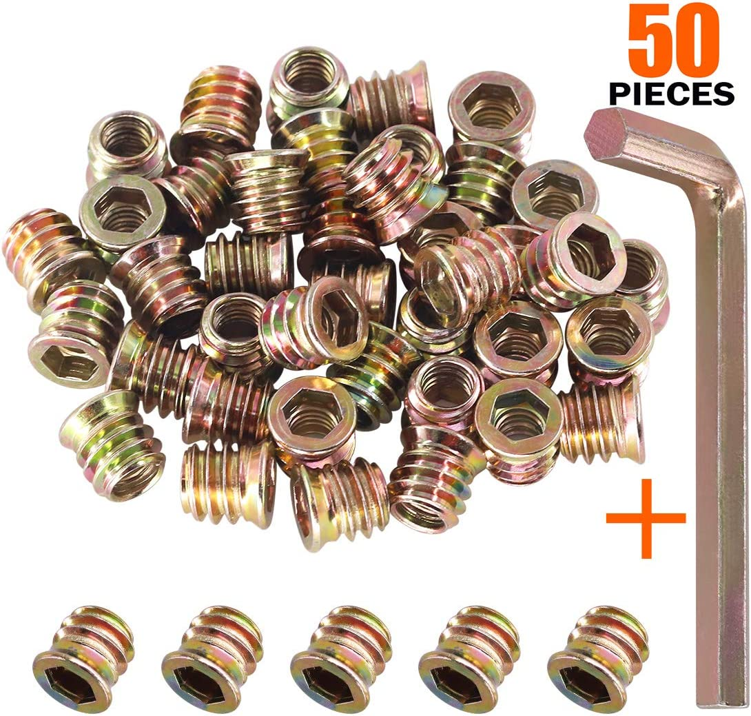Rustark 90 pcs 5//164 Sizes Threaded Insert Nuts Assortment Set Carbon Steel Zinc Plated Color Screw-in Nut Hex Socket Drive Bolt Fastener Connector for Wood Furniture