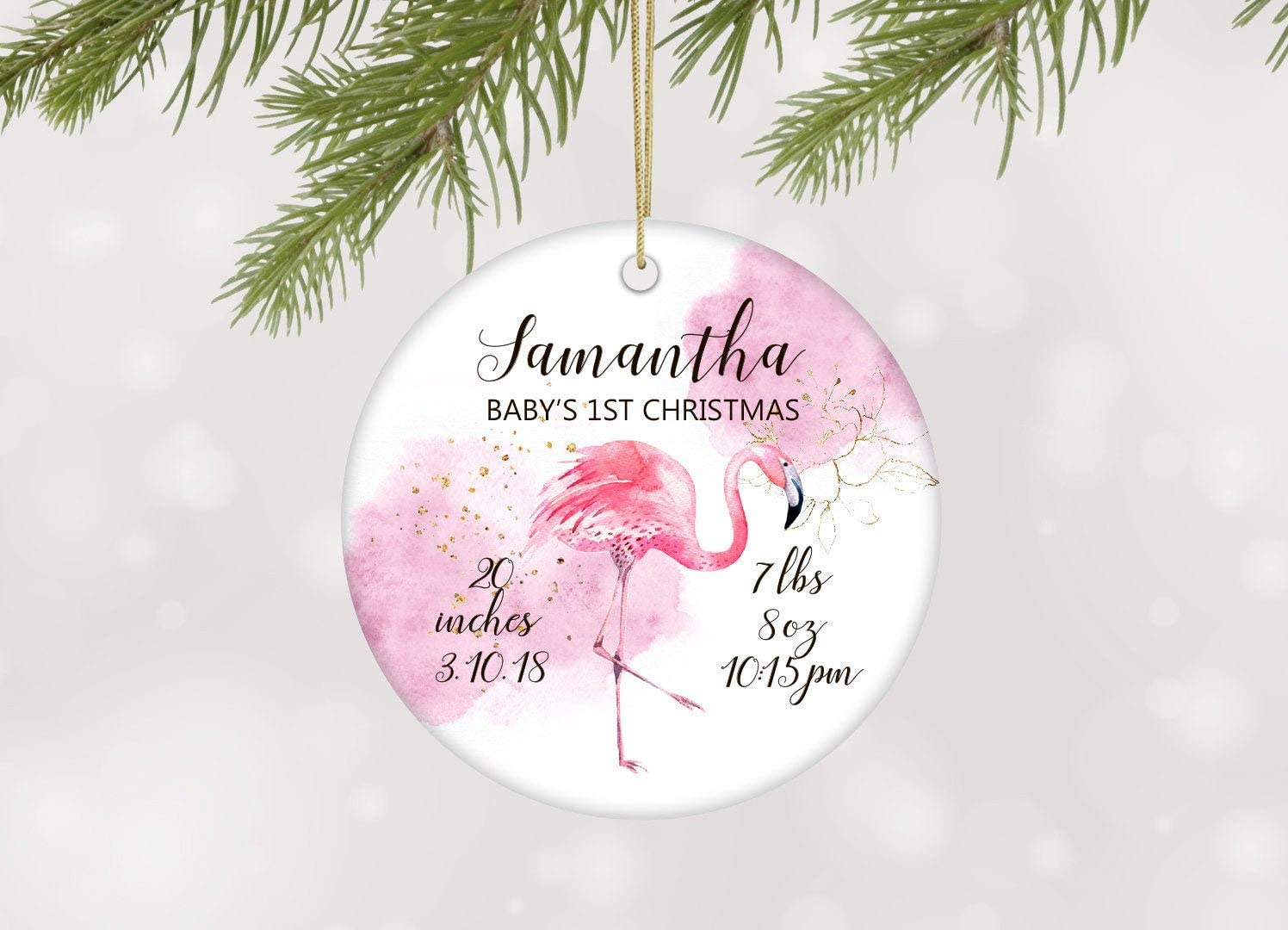 Flowershave357 Personalized Babys First Christmas Ornament Baby Girl Ornament Birth Stats Ornament Baby Girls 1st Christmas Ornament with Flamingo Childrens Ornament