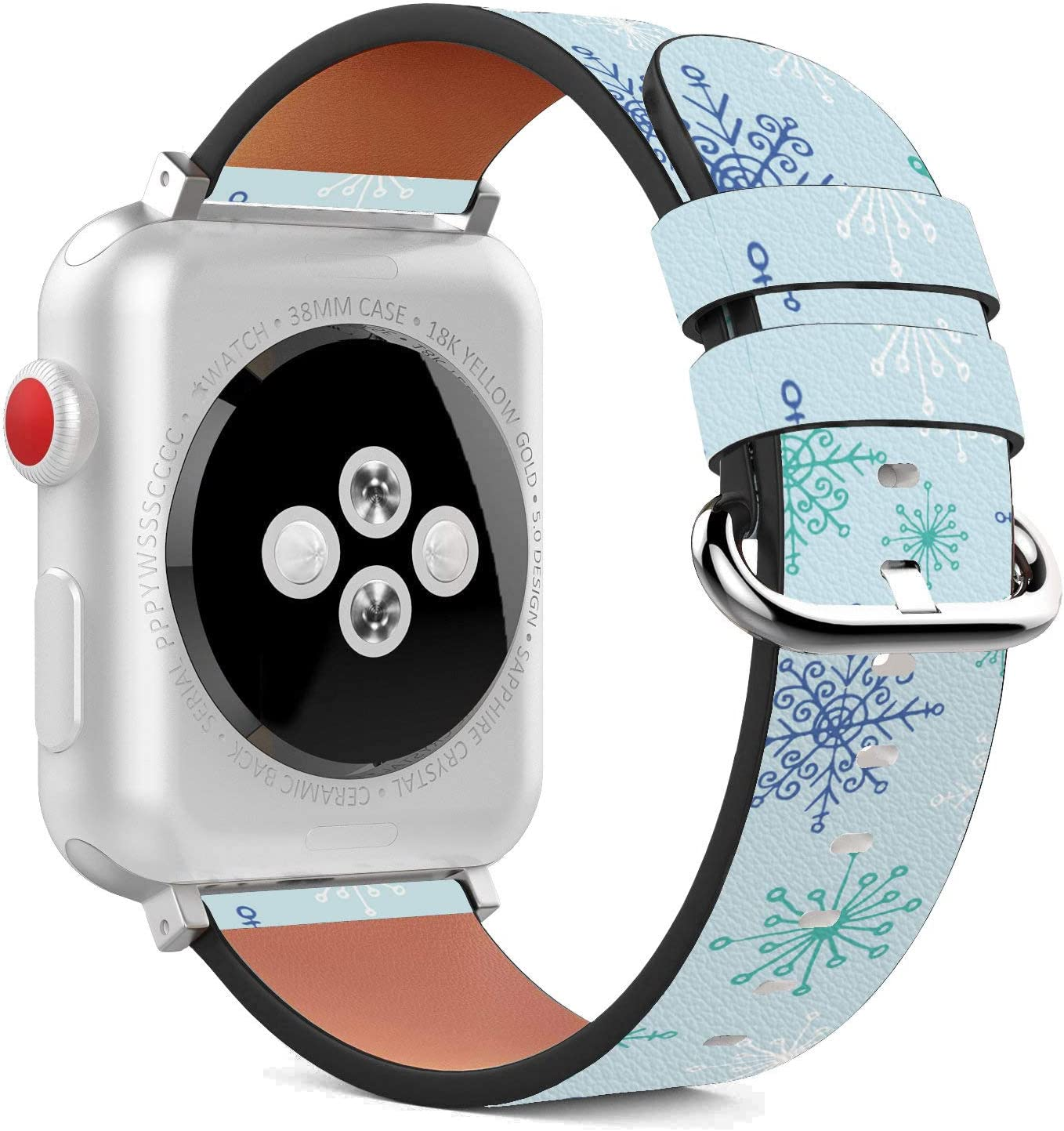 Compatible with Apple Watch - 38mm / 40mm (Serie 6/5/4/3/2/1) Leather Wristband Bracelet with Stainless Steel Clasp and Adapters - Frosty Snowflake