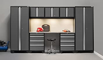 NewAge Products 50077 Bold 3.0 Grey 8Piece Cabinetry Set With Stainless  Steel Work Top