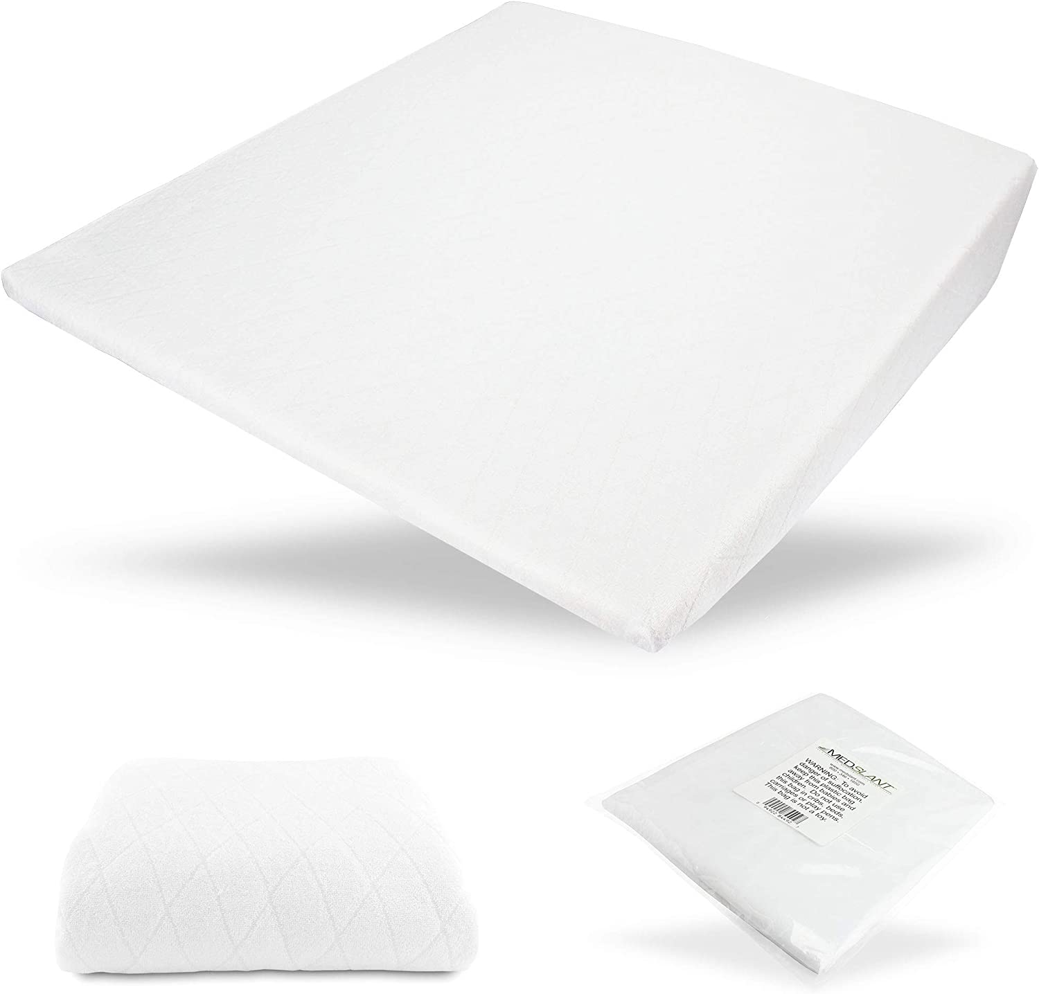 """MedSlant Acid Reflux Wedge Pillow - US Made """"Plus"""" - Memory Foam Overlay - Removable Microfiber Cover & Bonus Poly-Cotton Cover - Recommended Size for GERD & Other Sleep Issues"""