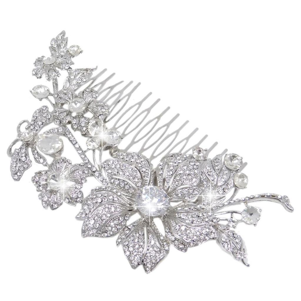 Ever Faith Bridal Silver-Tone Flower Bumble Bee Hair Comb Clear Austrian Crystal A12567-1