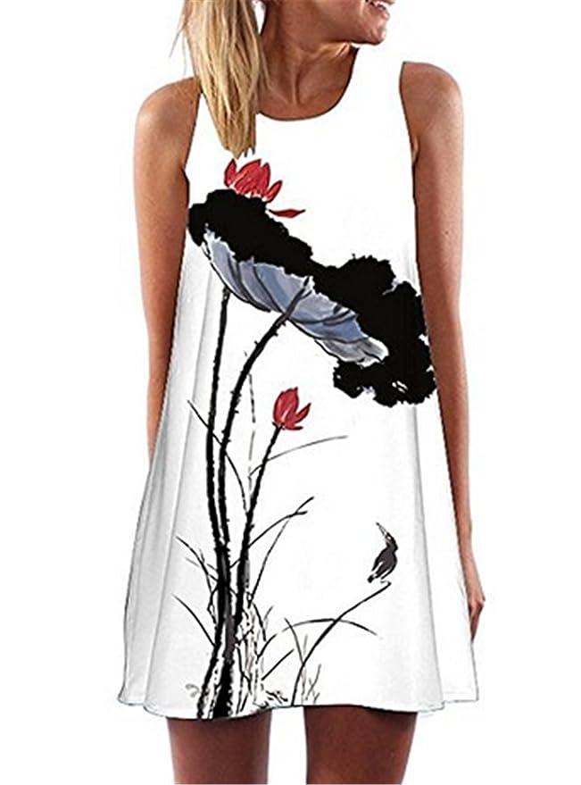 Bohai Neueste Kleid f¨¹r Frauen beil?ufige Sommer Kleider mit Blumenmuster:  Amazon.de: Bekleidung