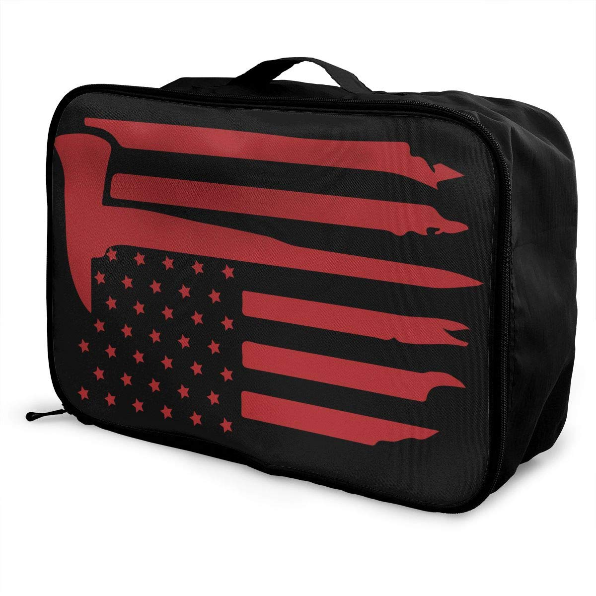 YueLJB American Firefighter Flag Lightweight Large Capacity Portable Luggage Bag Travel Duffel Bag Storage Carry Luggage Duffle Tote Bag