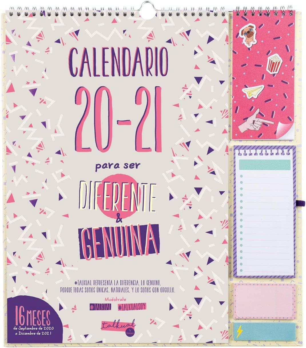 Finocam - Calendario de Pared 16 Meses 2020-2021 340x380 Mes Vista Talkual Plus Español
