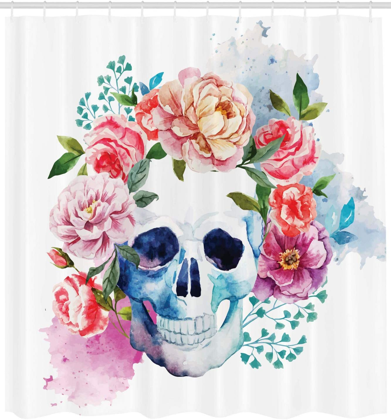 69W X 70L Inches Ambesonne Skulls Decorations Shower Curtain Set Multi Bathroom Accessories Colorful Ornate Mexican Sugar Skull Set with Flower and Heart Pattern Calavera Humor Art