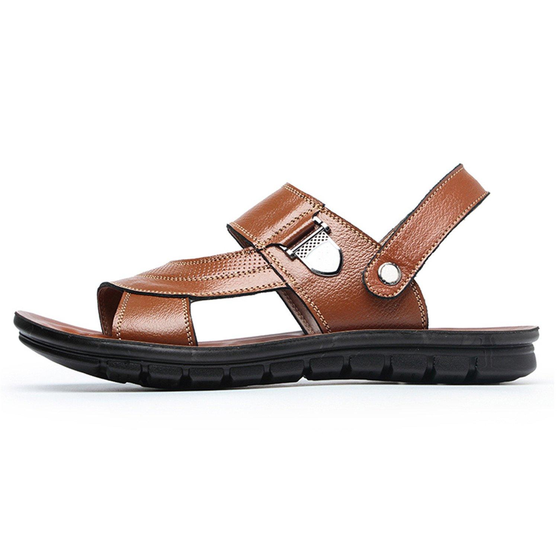 Chopstick Sandals Men Leather Summer Split Vintage Flat Solid Beach Shoes Non-Slip