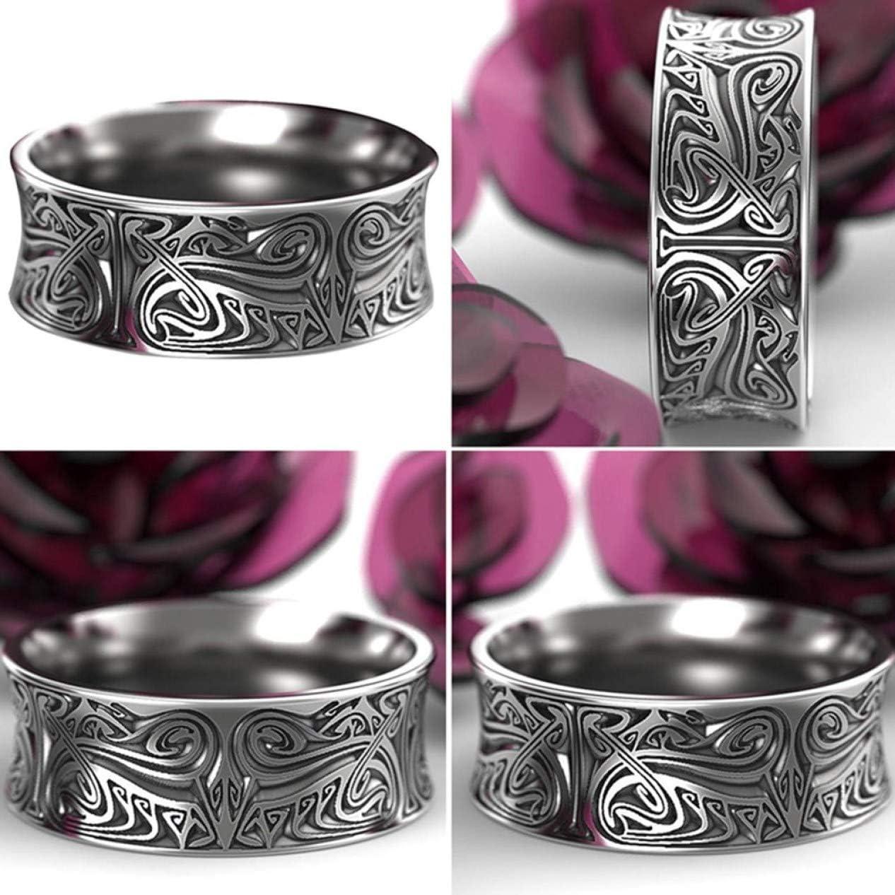 Jyuesi Classic Nordic Viking Antique Silver Engraved Norse Wedding Ring Men Ring