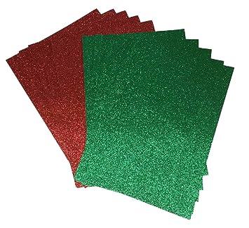 20 x A4 papel con purpurina verde y rojo brillante suave no cobertizo de grosor 150 g/m², Navidad papel 10 hojas de cada: Amazon.es: Hogar