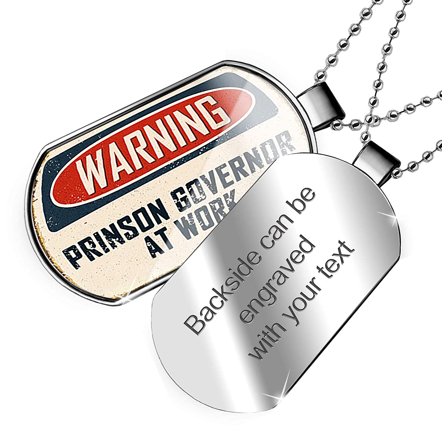 NEONBLOND Personalized Name Engraved Warning Prinson Governor at Work Vintage Fun Job Sign Dogtag Necklace
