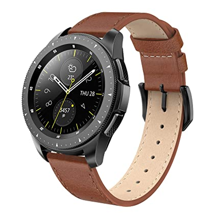 SWEES Leather Band Compatible Galaxy Watch 42mm, 20mm Genuine Leather Bands Replacement with Quick Release for Samsung Galaxy Smartwatch 42mm Men & ...