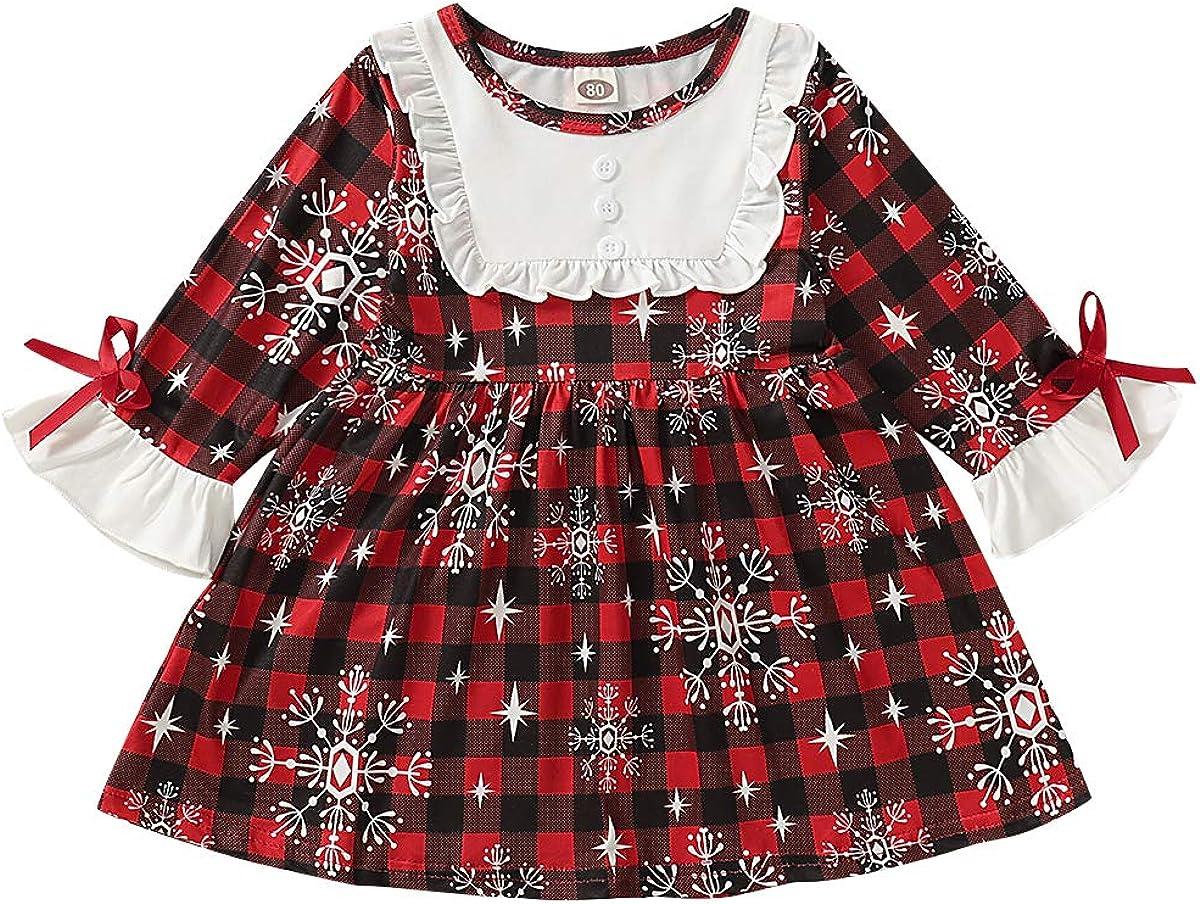 Toddler Baby Girl Christmas Dress Long Sleeve Plaid//Reindeer Prints Christmas Party Princess Tutu Dress Fall Outfits