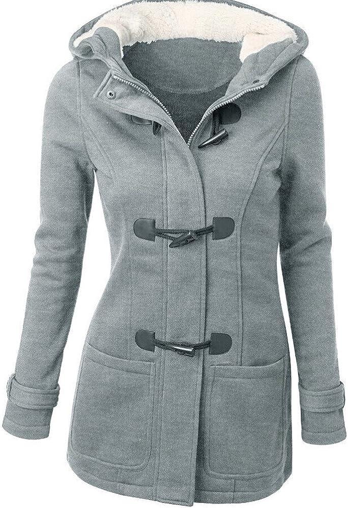 L, Grey Warm Windbreaker,Leegor Lady Wool Slim Coat Thickening Horns Deduction Outwear