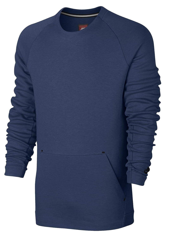 Blau (Küstenblau   htr   Schwarz Nike Herren M NSW Tch FLC CRW Ls Hemd