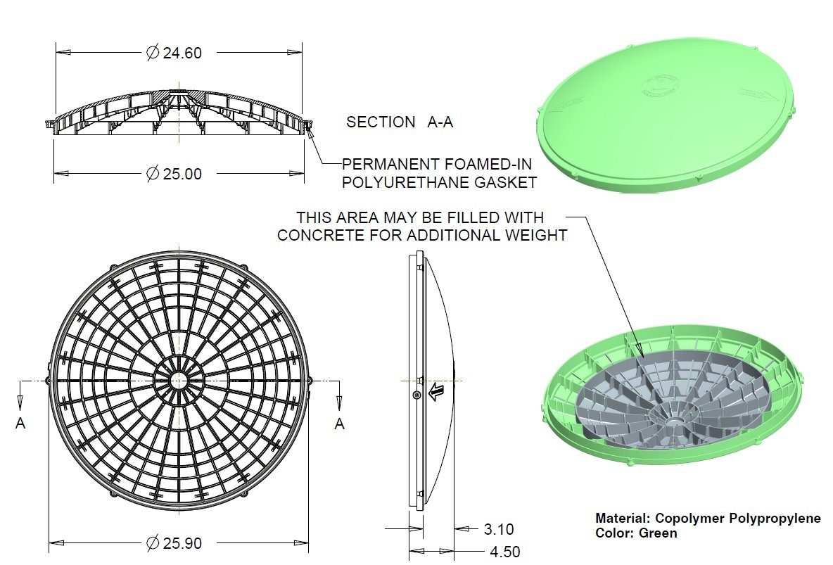 Tuf-Tite 24'' Domed Septic Tank Lid for Tuf-Tite Risers Only by Tuf-Tite (Image #1)