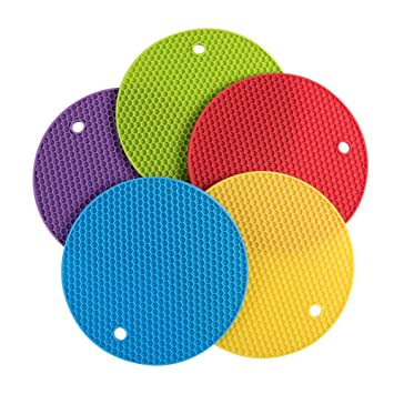 Beautiful Daixers 5pcs Extra Thick Silicone Trivet Mat, Hot Pads Non Slip Silicone  Insulation Mat