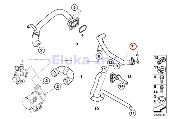 Amazon Com Bmw Genuine Coolant Water Hose With O Ring