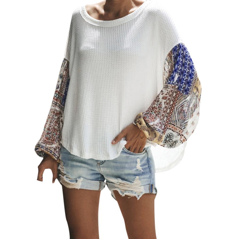 Mujeres de Costura Casual de Manga Larga Camisa Suelta Talla Grande Blusa de Punto Tops ❤ Manadlian: Amazon.es: Ropa y accesorios