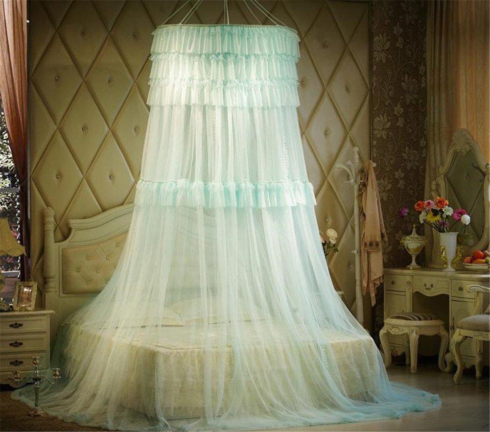 Unimall Rund Lace Moskitonetz Mit Multi Lace Spitzen Prinzessin Bett  Baldachin Für Schlafzimmer Gegen Insetzen Mücken, Hellblau