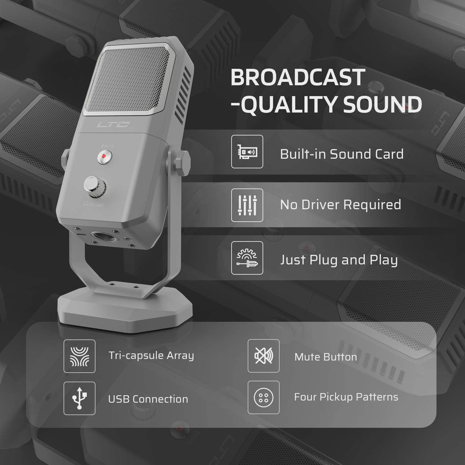Professional Grade Mic for Studio Recording Vocals Streaming Broadcast and YouTube Videos LTC Encore MPE-01 Metal Stand Condenser Microphone USB Microphone Silver 4 Pickup Patterns