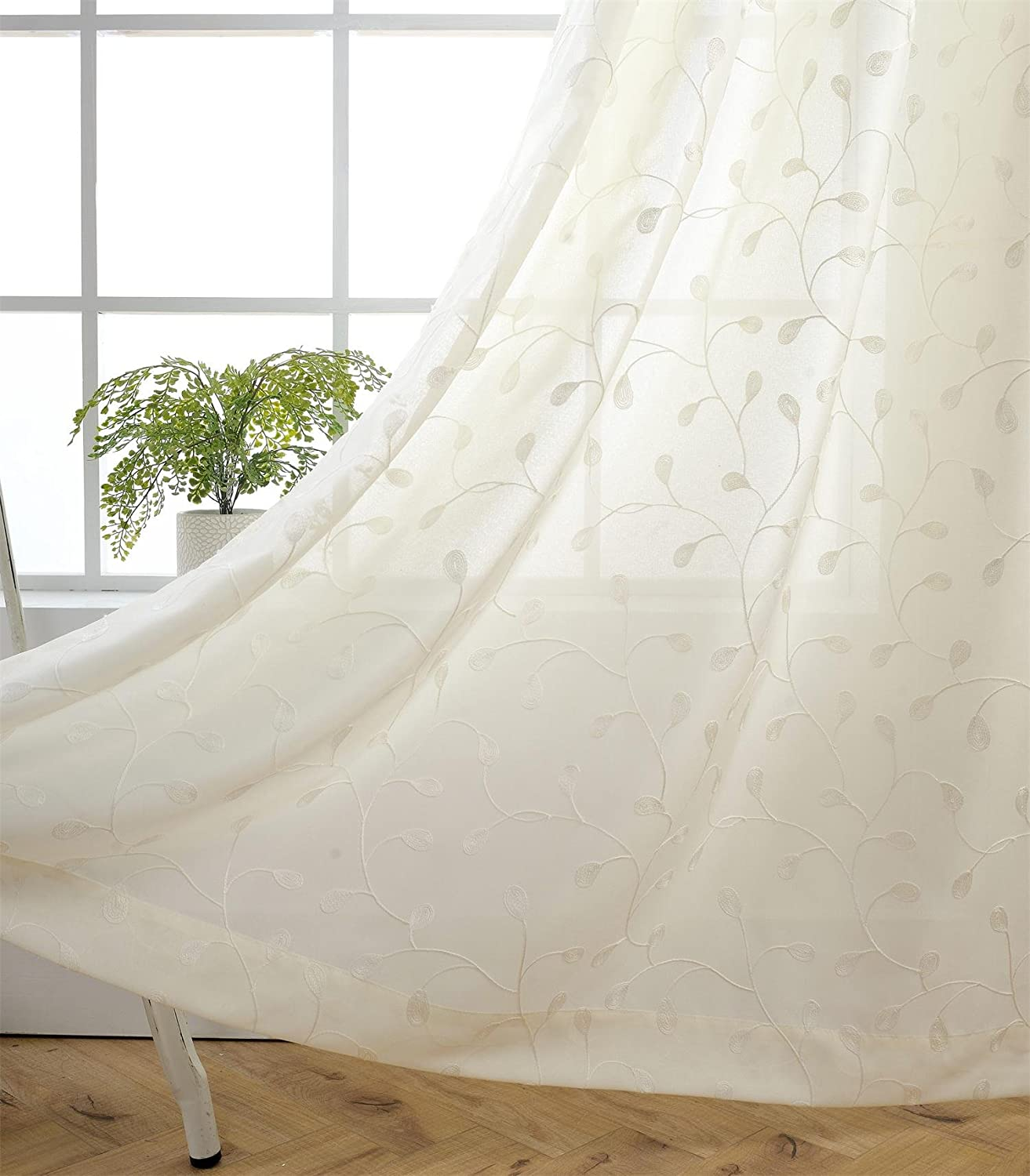 Miuco Floral Embroidery Semi Sheer Curtains Faux Linen Grommet Curtains for Bedroom 52 x 63 Inch 2 Panels, Off White
