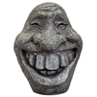 Bits and Pieces - Big Stone Smiley Face - Perfect Ornament For Your Garden, Porch or Patio - Lighthweight, Weather Resistant Polyresin