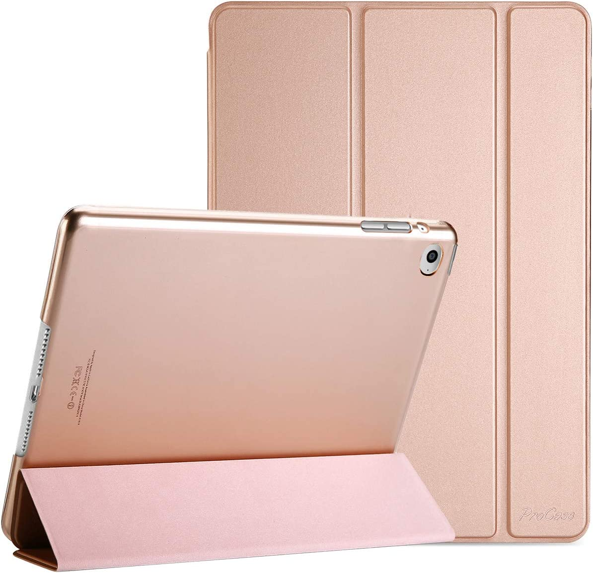 ProCase Smart Case for iPad Air 2 (2014 Release), Ultra Slim Lightweight Stand Protective Case Shell with Translucent Frosted Back Cover for Apple iPad Air 2 (A1566 A1567) -Rosegold