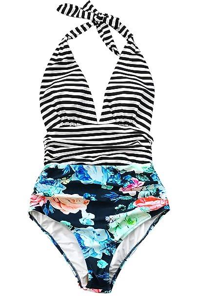 de065b2bd5 CUPSHE Women's Stripe Halter One Piece Swimsuit Keeping You Accompained  Swimwear (X-Small (