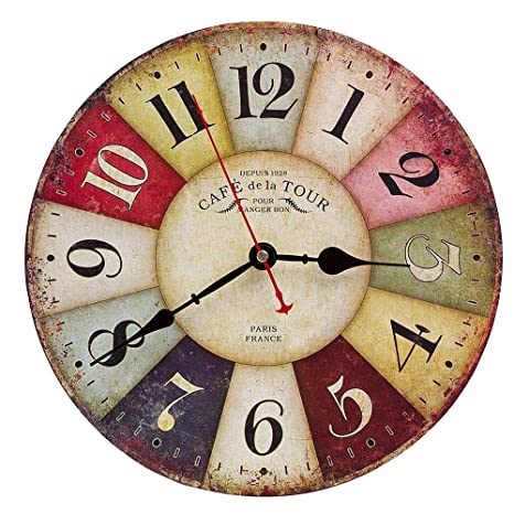 relojes para pared de sala Reloj De Pared De Madera De La Vendimia30cm Reloj Numrico Grande De Madera RetroSilencioso No Tick Tack Ruido Reloj De Pared Para No RuidosCocina