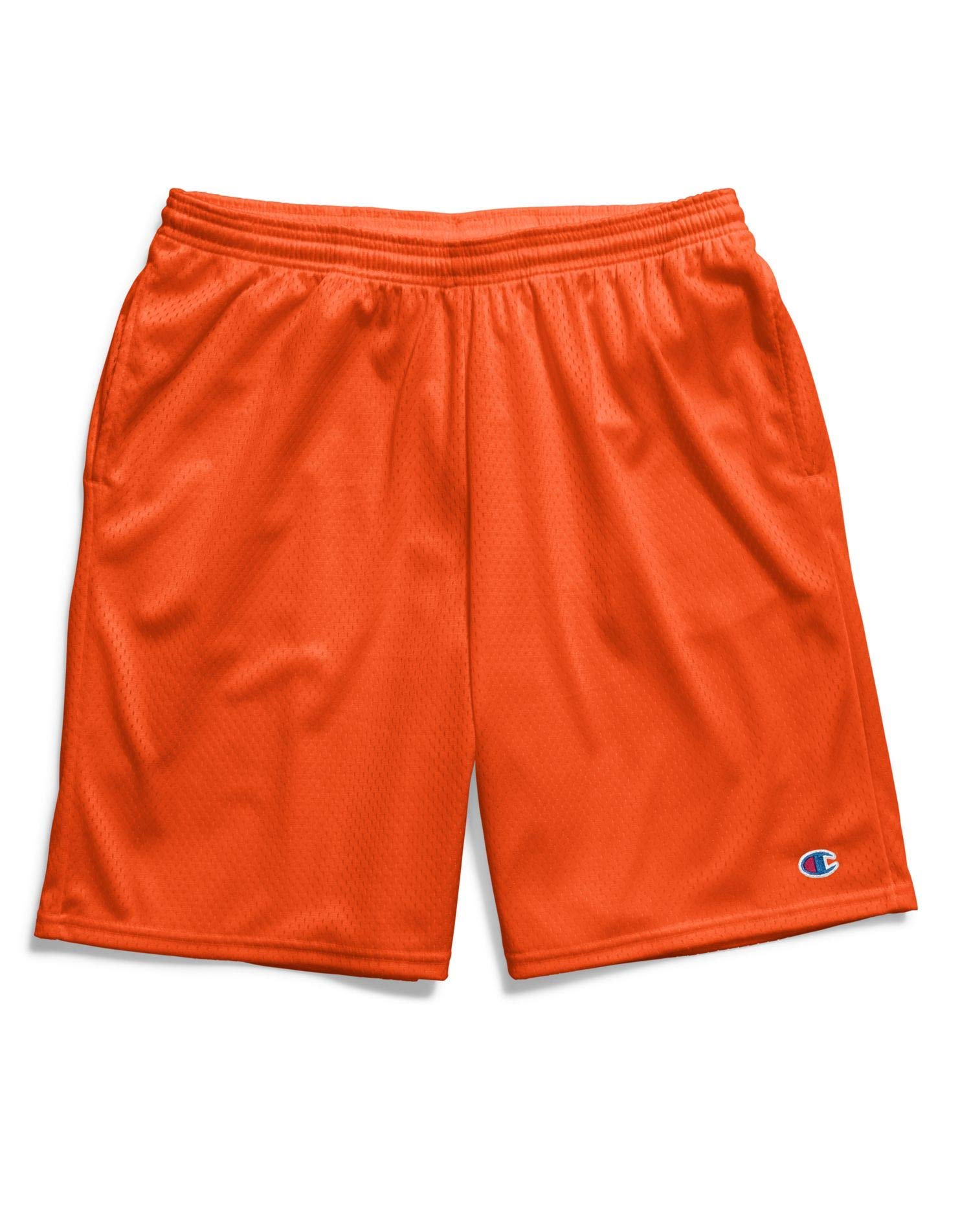 Champion Men's Long Mesh Short with Pockets, Spicy Orange 1, by Champion