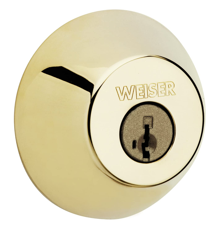Iron Black Exterior Door Lock GD9471 Weiser Round Deadbolt Featuring SmartKey Single Cylinder