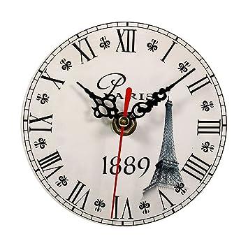 Relojes de Pared de Madera, 7 tipos de estilo Vintage relojes de pared de madera redonda oficina en casa decoración del dormitorio(#6): Amazon.es: Hogar