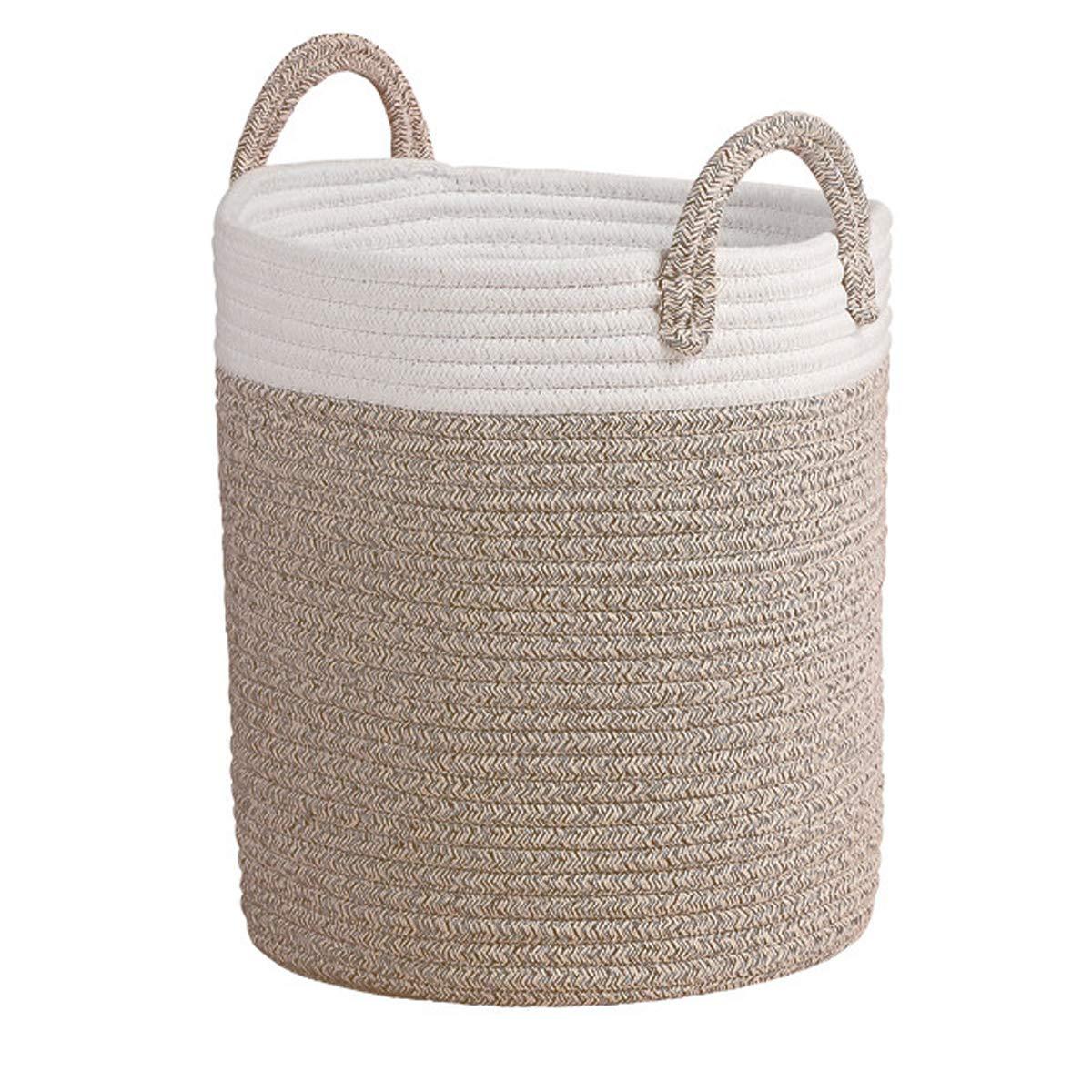 Aufbewahrungskorb Wäschekorb aus Baumwolle Seil, H38 x D32cm Stabil und Haltbar, Für Wohnzimmer Kinderzimmer Badzimmer LA JOLIE MUSE