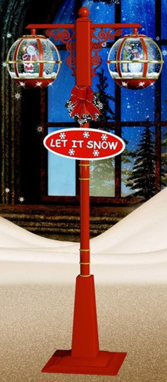 74'' Lighted Red and Gold Musical Snowing Santa and Snowman Double Christmas Street Lamp