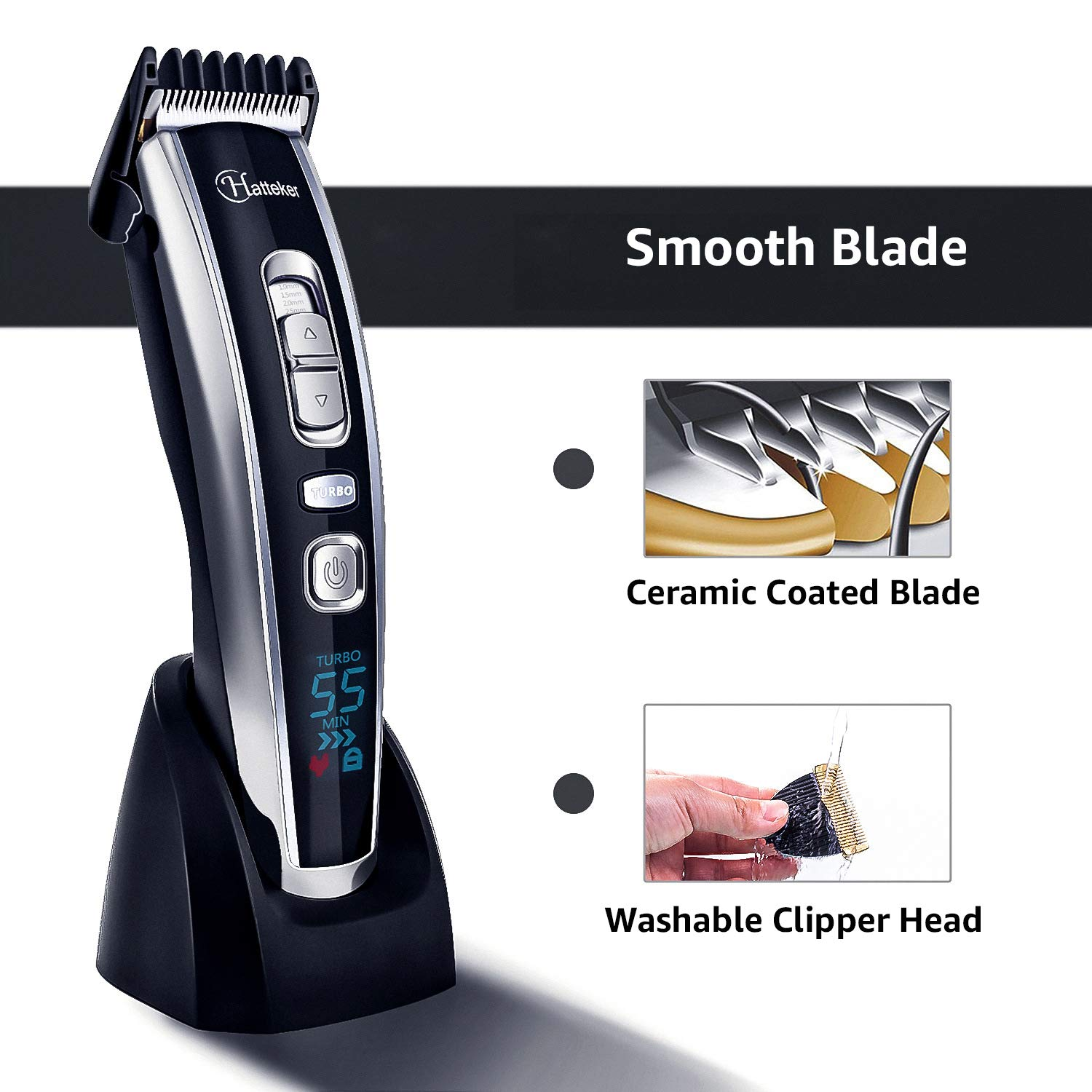 Ablave Hair Clipper Cordless Hair Clippers Trimmer Beard Shaver Electric Haircut Kit Ceramic Blade Rechargeable LED Display Trimmer for Men