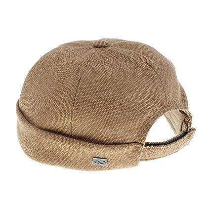 MonkeyJack Men Women Skullcap Beanie Worker Sailorcap Rolled Cuff Retro  Brimless Outfit Hat - Dark Beige 69537d41dbe3