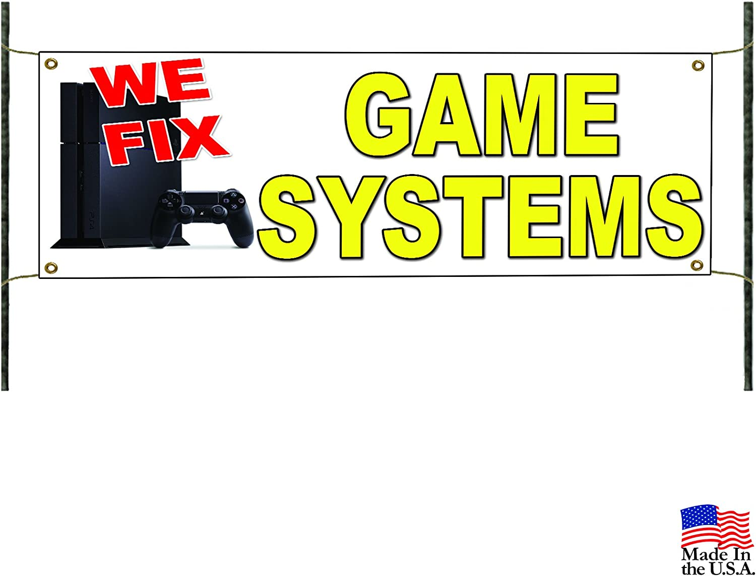 Amazon Com We Fix Game System Xbox Computer Advertising Banner Sign Office Products