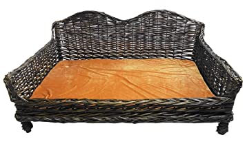 Gigante enorme Big mimbre cesta de mimbre Cama de Perros cojín acolchado sofá, sofá y cama [Tamaño Mediano 82 x 55 x 40 cm]: Amazon.es: Productos para ...