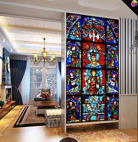 WFYY Pintura Al Óleo Tiffany Vidrieras Vinilo Puerta Mural Pared, Casa De Papel, Papel Pintado 88x200cm: Amazon.es: Hogar