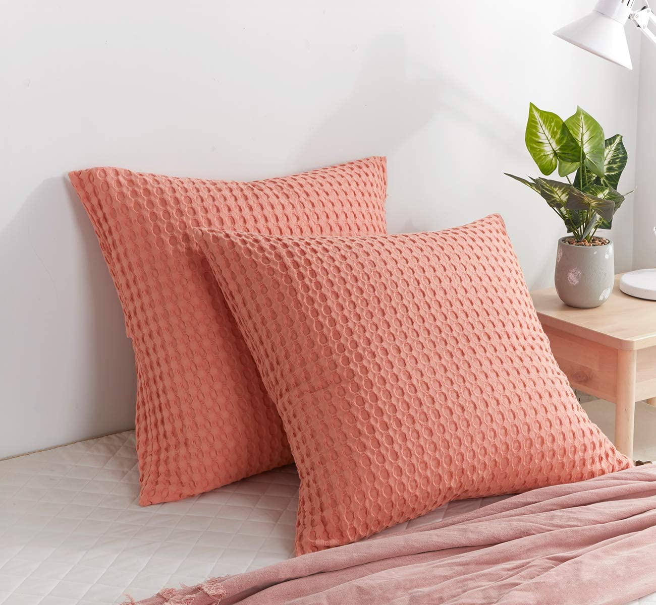 PHF Soft and Cozy Cotton Waffle Weave Euro Sham Covers