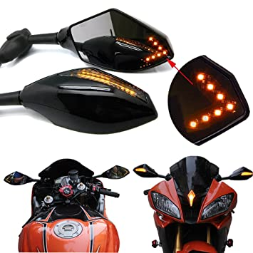 b50ed9142e3a2 Pair of Motorcycle Led Turn Signal Integrated Indicator Rearview Mirrors  for Racing Bike Sport Bike (Smooth Black+Smoke Lens)
