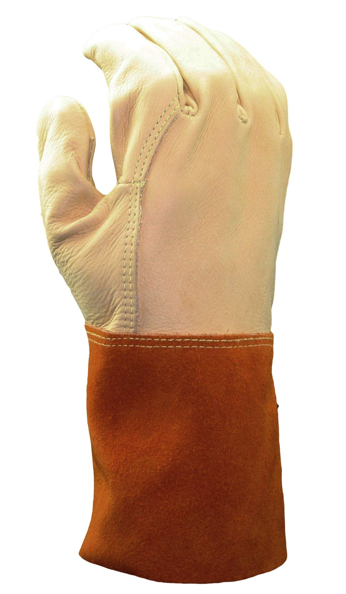 Cowhide Welder Gloves with Leather Gauntlet Cuff, Premium Grade | Beige/Orange Color, Unlined Lining, Kevlar Stitching Material - (Pack of 12) by Stauffer Glove & Safety (Image #3)