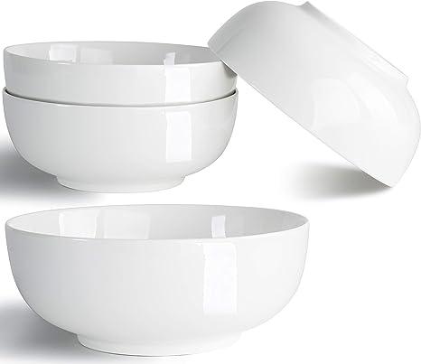 40 Ounce Soup Bowls Salad Bowls Cereal Bowls Pasta Bowls Pho Bowls Chunni Durable Porcelain Off White Bowls Set Of 4 7 Inch Kitchen Dining