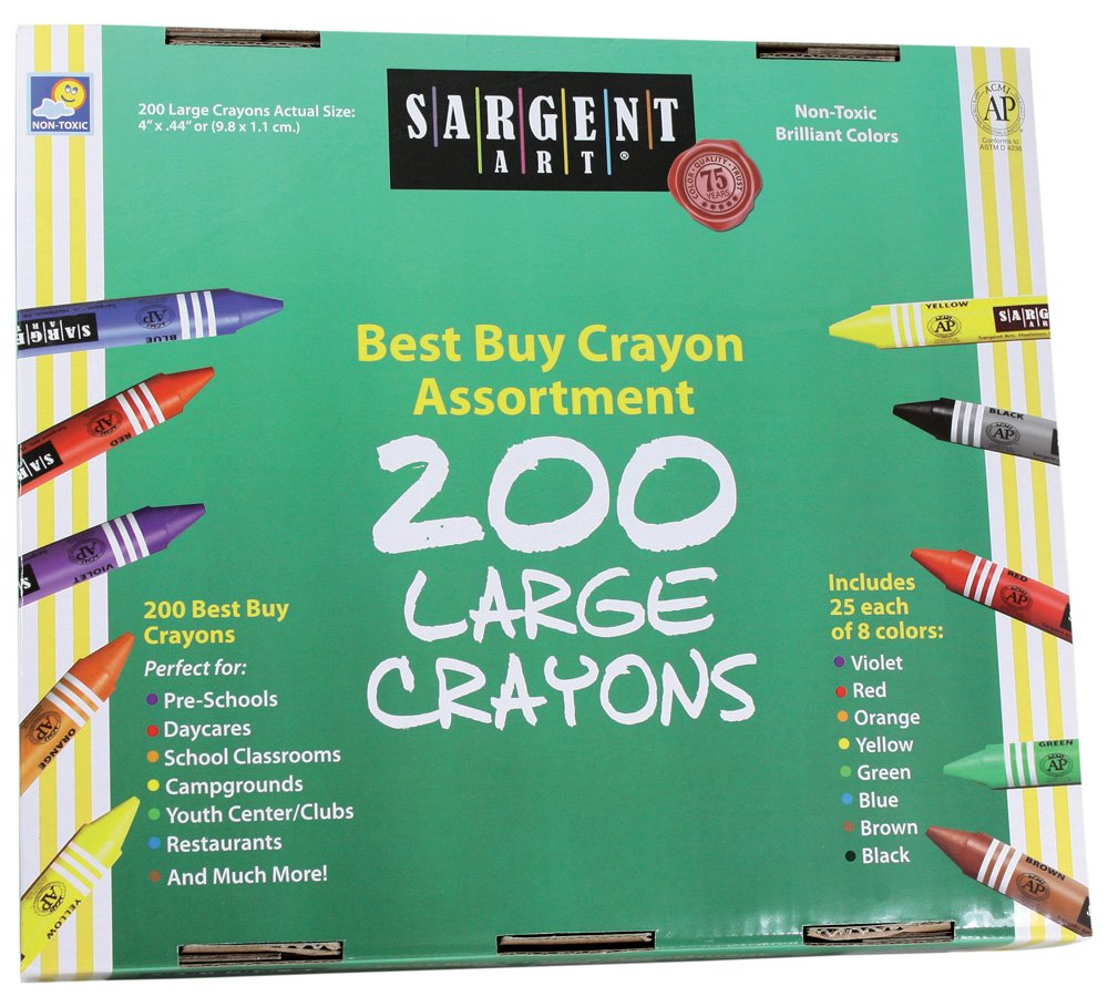 Amazon.com: Sargent Art 200-Count Large Crayon Class Pack, Best Buy ...