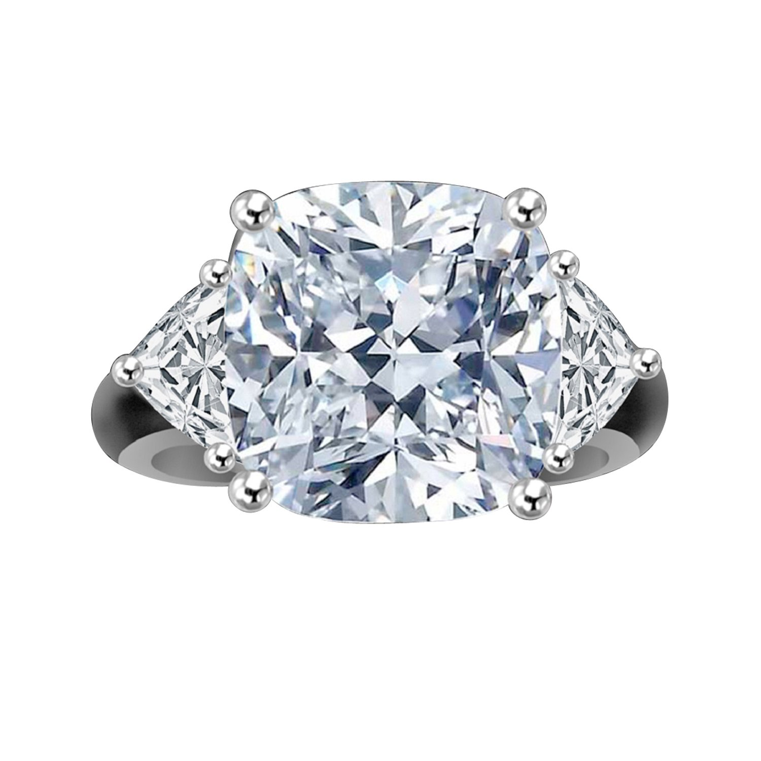 Diamond Veneer - 5Ct. Radiant Cushion Classic Triangular Sides Ring W/ Triangular Sides Simulated Diamond (Clear, 7)