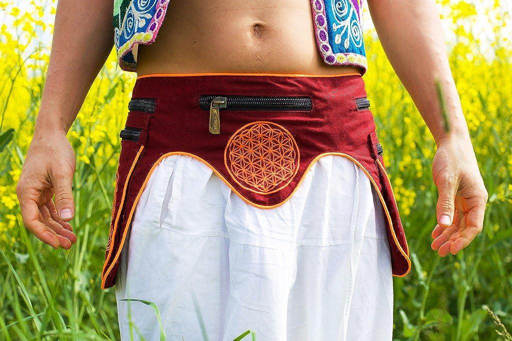 ImZauberwald Mushroom Aum Goa Waistbag with Flower of Life UV Active 5 Pockets