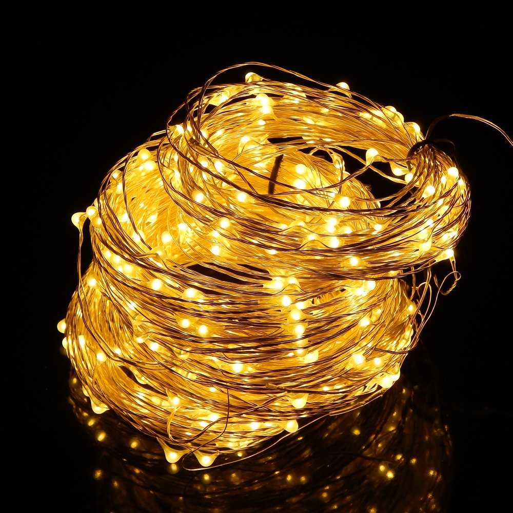 ER CHEN Led String Lights 500 Leds Warm White Color on Silver wire 165ft LED Starry Light with 12V Power Adapter For Christmas Wedding and Party
