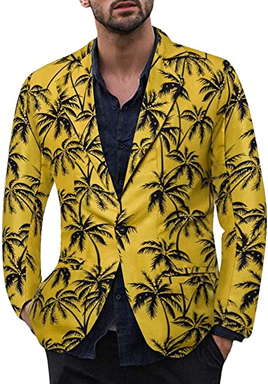 Mens Printing Floral Suit Blazer Casual Vintage Turn-Down Long Sleeve One Button Collar Coat Outerwear