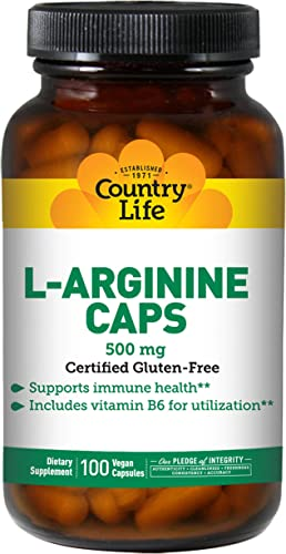 Country Life L-Arginine 500 mg with Vitamin B6-100 Vegetarian Capsules – May Help Support Immune Health – Aids Utilization – Gluten-Free