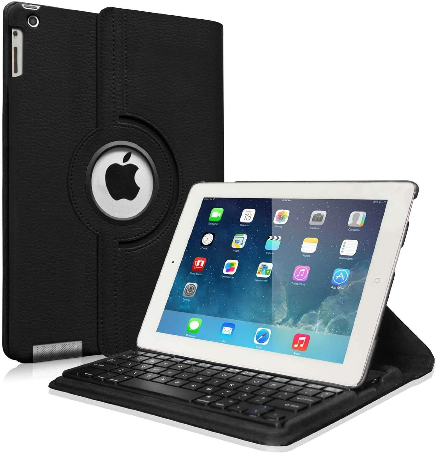 Fintie Rotating Keyboard Case for iPad 4 3 2 (Old Model)- 360 Degree Rotating Stand Cover with Built-in Wireless Bluetooth Keyboard for iPad 4th Gen with Retina Display, iPad 3 & iPad 2, Black